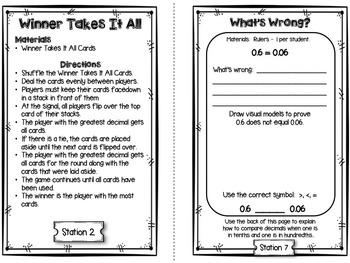 Hands-On Math Station Booklet - NF.7 {Comparing Decimals}