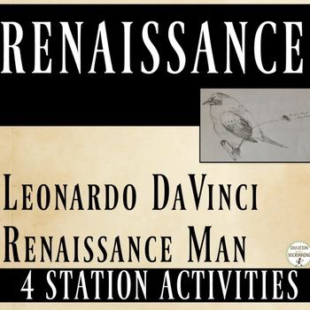 Renaissance 4 Station Activities with Renaissance Man DaVinci RECENTLY UPDATED