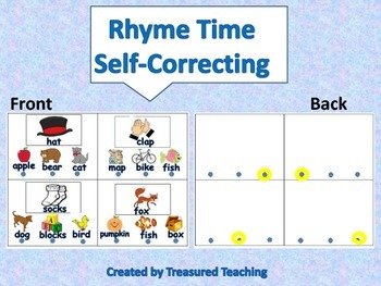 Hands On Rhyming Activity with Self Correction Literacy Station