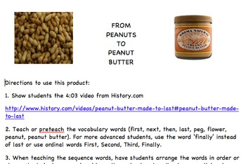Hands On Sequencing Lessons - Peanuts to Peanut Butter