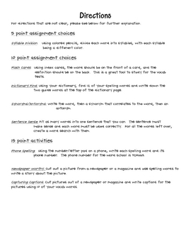 Hands On Spelling Activity Homework Contract -5th