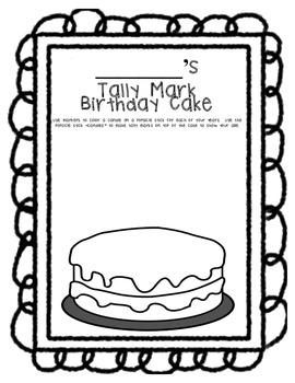 Hands-On Tally Mark Activity-Make a Birthday Cake