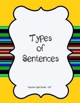 Types of Sentences Literacy Center (Exclamatory, Interrogative, Comands, ETC!!!)