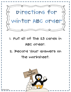 Hands-On Winter ABC Order Center Activity *Challenge*