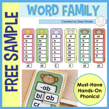 Hands-On Word Family Cards (Short A sound: -at)