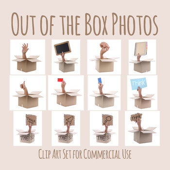 Hands Out of the Box - Think Outside the Box Photos / Photographs Clip Art