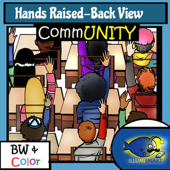 Hands Raised (Back View ) CommUNITY 40 pc. Clip-Art BW/Color