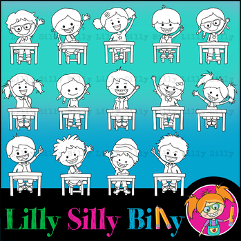 Hands Up! Clipart Bundle. BLACK AND WHITE & Color.  {Lilly Silly Billy}