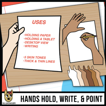 Hands Pointing & Writing With Paper Clip Art: Student Perspective Seatwork