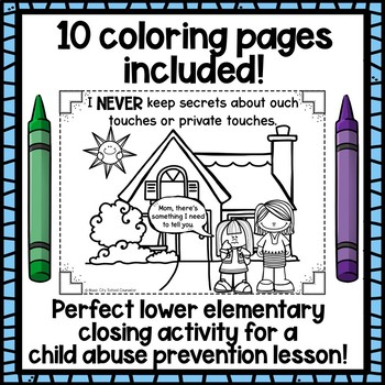 Child Abuse Prevention: Set of 5 Coloring Pages!
