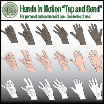 "Hands in Motion Clip Art - ""Tap and Bend Technique"" {Messare Clips and Design}"