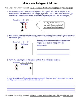 Hands-on Adding Integers Activity 7.NS.1