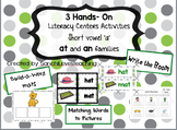 Hands-on Centers Activities: Short vowel 'a' families (-at and -an families)