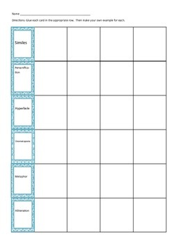 Hands on Figurative Language (6 types) Sorting Activity AND Test Practice