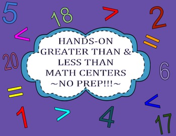 Hands-on Greater Than & Less Than Math Centers ~NO PREP~ (Comparing Numbers)