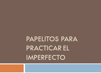 Hands-on Imperfect Tense Practice: Powerpoint plus Cards to Form Phrases