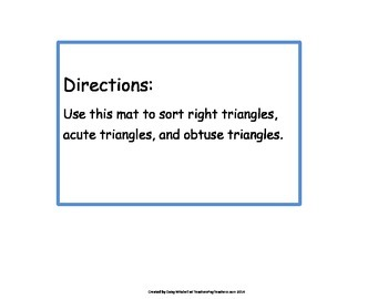 Hands-on-Mat Obtuse Triangles, Acute Triangles, & Right Triangle