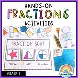 Hands on Math activities - Fractions Math centres Grade 1