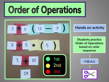 Hands on Order of Operations Color Sequence Activity