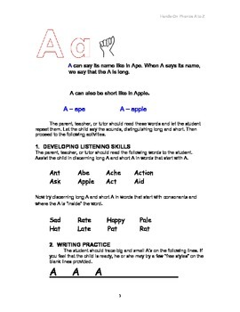 Hands-on Phonics A to Z - kinesthetic learning, including sign language!