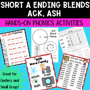 Short a -ack and -ash Word Families Hands-on Phonics Activities