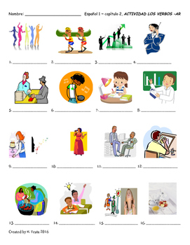 Hands on Spanish AR verb vocabulary intro, practice, and quiz (Descubre 1)