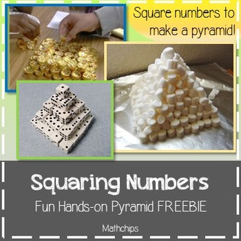 Hands-on Squaring Numbers Pyramid Activity *FREEBIE*