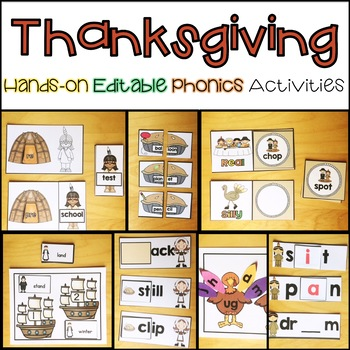 Thanksgiving Word Work Editable