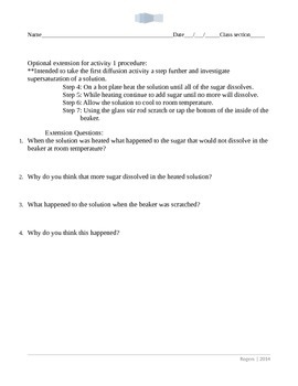 Hands on diffusion activities Word format