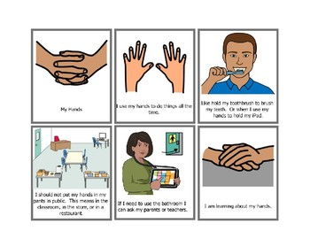 Social Story Hands Out Of Pants Worksheets & Teaching