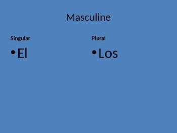 Handsome Spanish Definite and Indefinite Articles PowerPoint