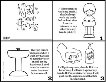 Handwashing Steps- Social Story Mini Book and Mini Poster with BOOM cards