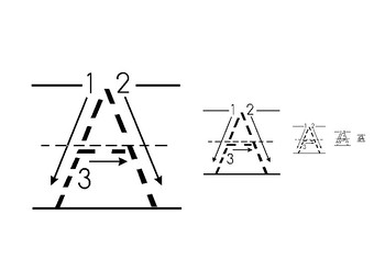 Handwrite alphabet uppercase from big to small