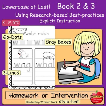 Lowercase Intervention or Homework Practice Bundle: HWT Style Font