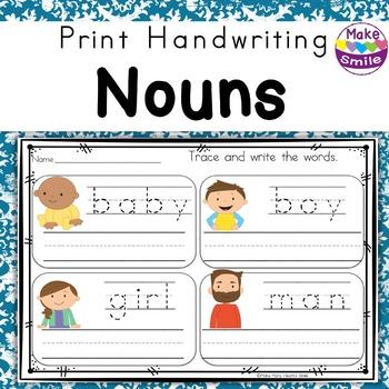 Print Handwriting: Nouns Worksheets and Strips