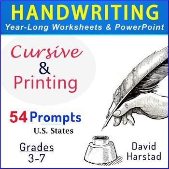 Handwriting   54 Printing & Cursive Prompts (Worksheets & PowerPoint) Grades 3-7