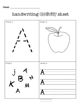 """Handwriting Activity Sheet: The Letter """"A"""""""