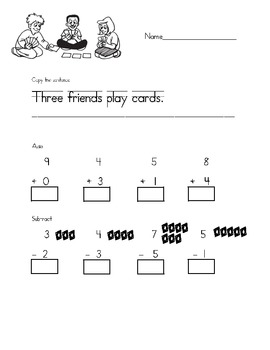 Handwriting, Addition, and Subtraction Practice