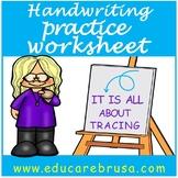 Handwriting Practice Worksheet, PreK, Special Education, Autism
