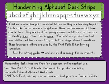 Handwriting Alphabet Desk Strips: HWT compatable