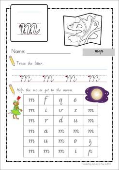 Handwriting - Alphabet Mazes {Lowercase Letters} Vic. Modern Cursive font
