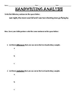 Handwriting Analysis activity