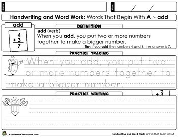 Handwriting Practice All Year: Write Words & Definitions Beginning With (A)