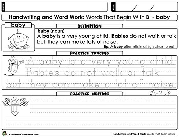 Handwriting: And Word Work. Words That Begin With The Letter (B)