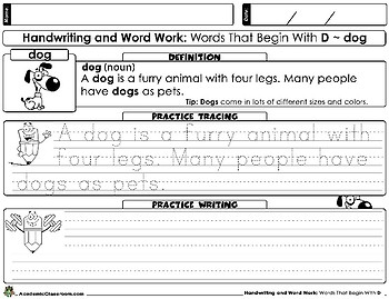 Handwriting: And Word Work. Words That Begin With The Letter (D)