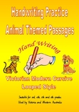 Handwriting Animal Themed Passages  -  Victorian Modern Cursive Joined  Style