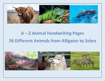 Handwriting Animals A to Z - from Alligator to Zebra for Primary Students