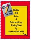 Handwriting Assessment/Rubric - Spelling & Script: Quick & Easy Grading: Gr. 2-6
