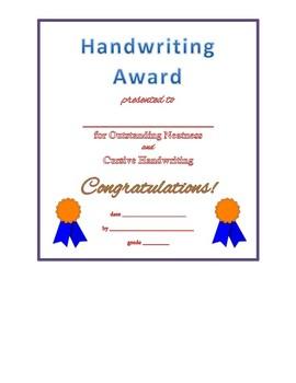 Handwriting Award
