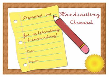 Handwriting Award Certificate